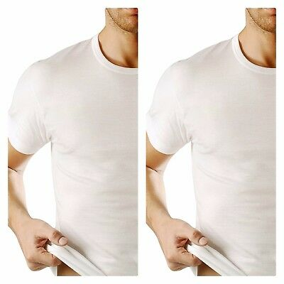 2 Canottiera uomo FRALY t shirt COTONE girocollo bianco mezza manica