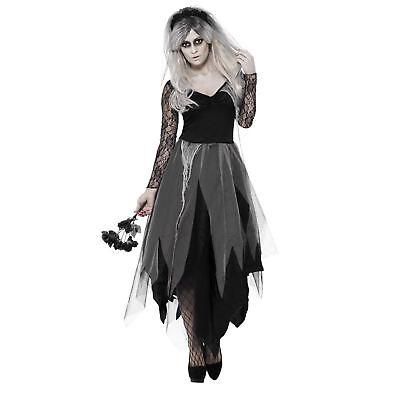 Adult Ladies Gothic Graveyard Bride Dead Zombie Fancy Dress Carnival Costume (Graveyard Bride Costume)