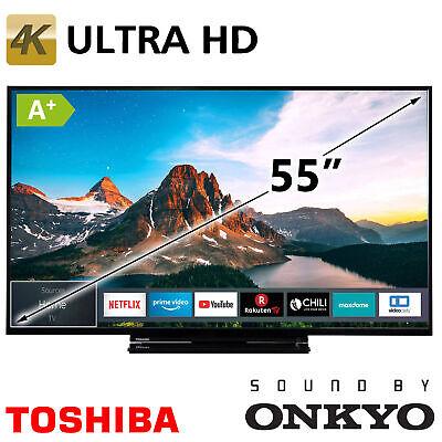"Toshiba 55"" Zoll Smart TV 4K Ultra HD UHD LED Fernseher HDR HLG WLAN DVB-T2/C/S2"
