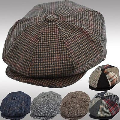 Men's Wool Herringbone Newsboy Cap Patchwork Driving Cabbie Tweed Applejack Hat