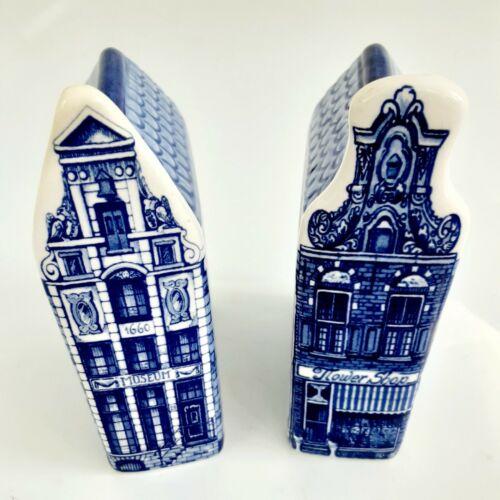 Delft Blue Hand Painted Ceramic Canal Houses Flower Shop & Museum VTG 1960