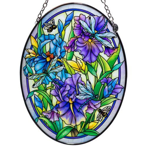 "Dragonflies & Irises Hand Painted Glass Suncatcher By AMIA Studios 7"" x 5"" New"