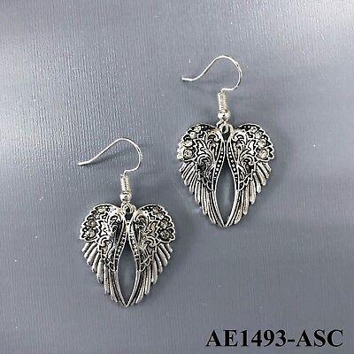 - Unique Silver Tone Angel Inspired Wings Design Drop Dangle Hook Earrings