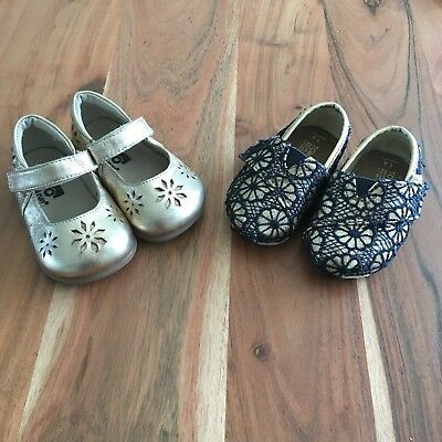 See Kai Run Ginger Gold Mary Jane Toms Gold/Blue Lace Baby Girls Shoe Lot sz 4
