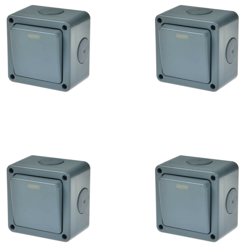 4PK Waterproof Power Switch Panel Junction Box Case IP66 Outdoor Security 10A