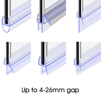 Bath Shower Screen Door Rubber Seal Strip Glass for Thickness 4 - 6mm Gap 4-30mm