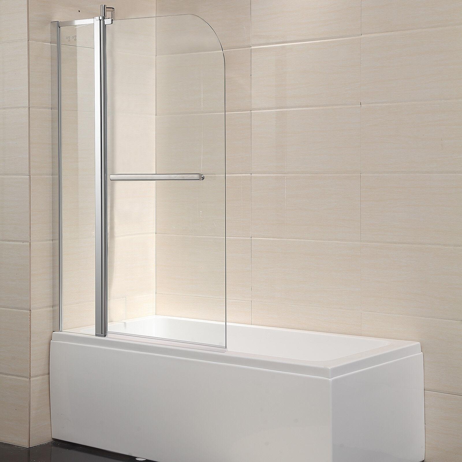 Details About Modern 55 X39 Bath Tub Shower Door 1 4 Clear Glass Pivot Radius Framed Chrome