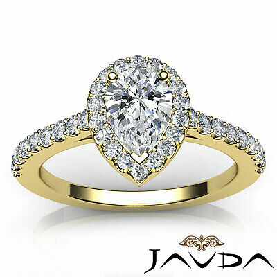 Halo French U Pave Pear Natural Diamond Engagement Ring GIA Certified G VVS2 1Ct 10