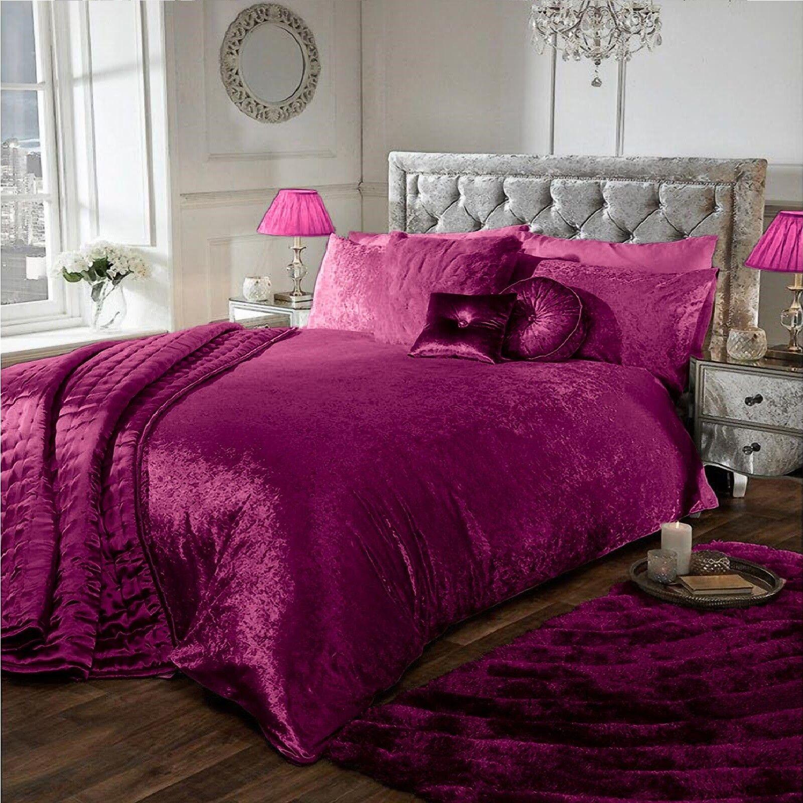 Black Luxury Crushed Velvet Duvet Quilt Cover Bedding Set