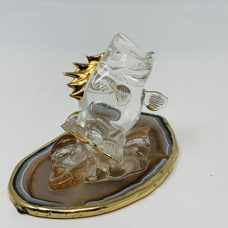 Glass Wide Mouth Bass On Agate Base Fishing Gift Paperweight Trophy Funny Rare