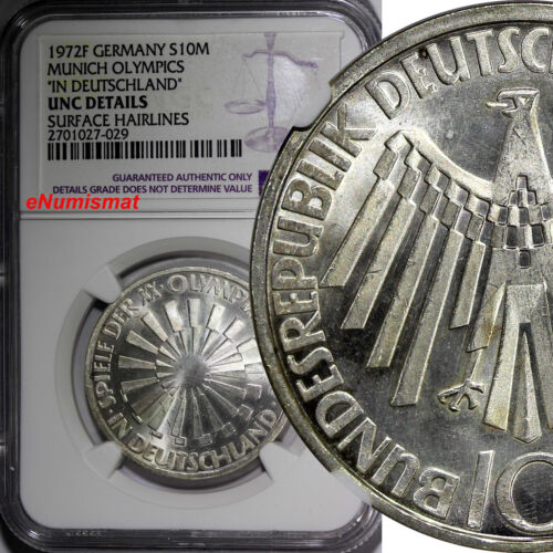 Germany - Federal Republic 1972-F 10 Mark NGC UNC DETAILS OLYMPICS KM# 134.1