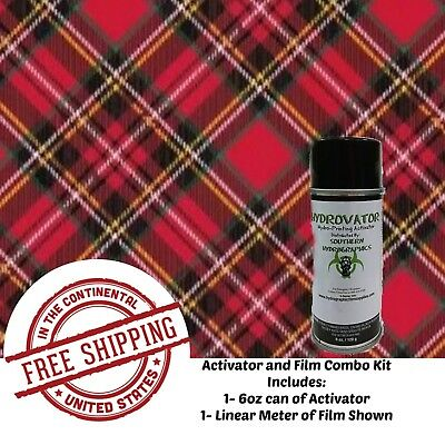 Hydrographic Water Transfer Hydro Dip 6oz Activator 1m Red Plaid 2 Film Kit