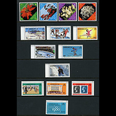 ANGUILLA 1979 3 Sets. Flowers, Sport & London 1980. Mint Never Hinged. (BH681)
