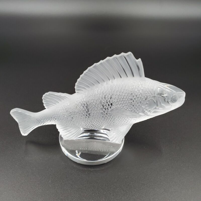 SPARKLING SIGNED LALIQUE FRANCE PERCH FISH CAR MASCOT PAPERWEIGHT