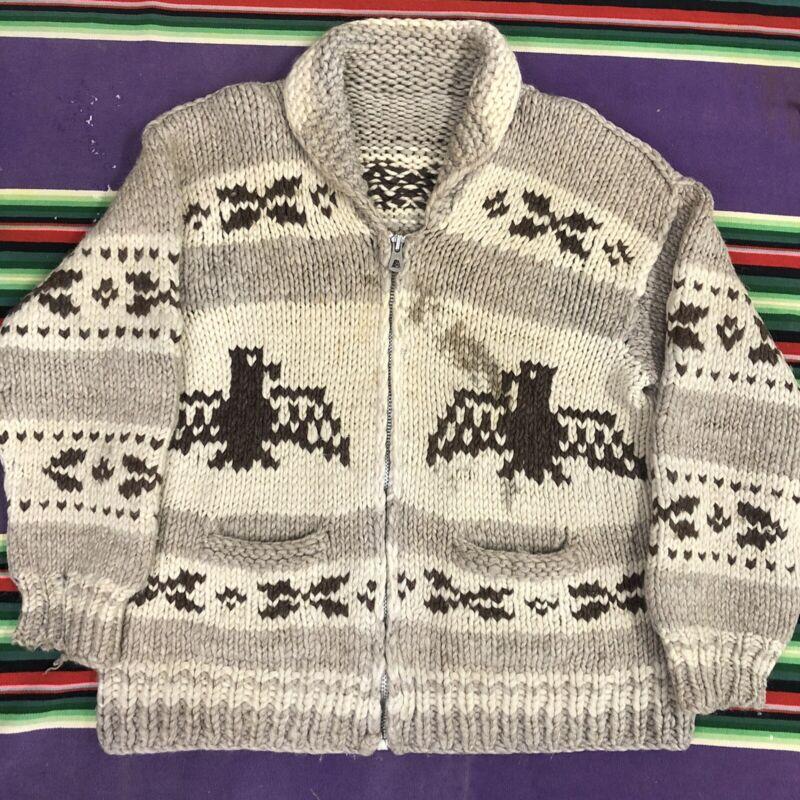 Vintage Cowichan Sweater 40s 50s Hand Knit Full Zip Wool Pattern Large Medium