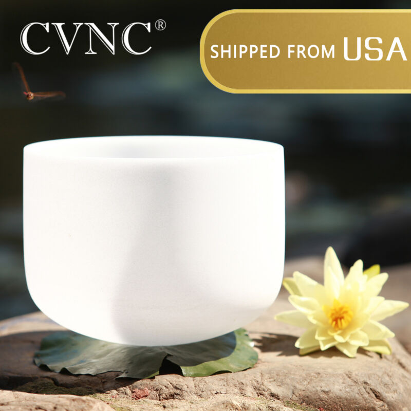 """432Hz 8"""" A Third-eye Chakra Frosted Quartz Crystal Singing Bowl Rubber Mallet"""