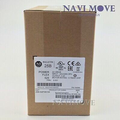 2020 New Sealed Allen-bradley 25b-d2p3n104 Powerflex 525 0.75kw 1hp Ac Drive Usa