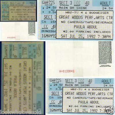 . Paula Abdul - Ticket Stub - July 25, 1992