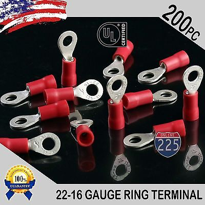 200 PACK 22-16 Gauge #8 Stud Insulated Vinyl Ring Terminals 100% Tin Copper Core