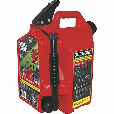 Surecan 5-gallon Portable No Spill Plastic Gas Fuel Can Container Jug Canister