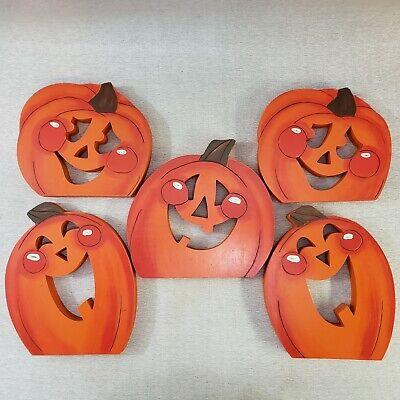 5 Halloween Wooden Pumpkin Plaque Jack O Lanterns 3 Designs Orange Happy - Halloween Jack O'lanterns Designs