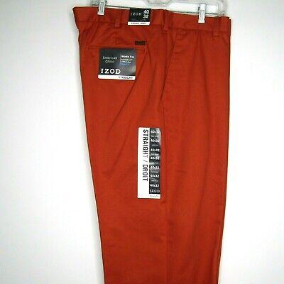 IZOD American Chino Straight Flat Front Rural Orange 40 x 32 Pants