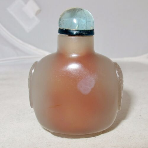"""2.35"""" Chinese Carved Gray Agate & Blue Glass Top Snuff Bottle"""