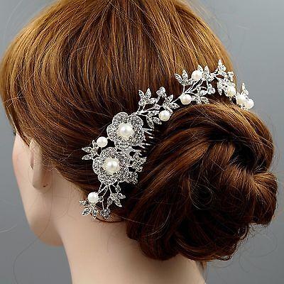 Bridal Accessories Wedding Headpiece Pearl Crystal Headband Hair Comb Tiara 9346
