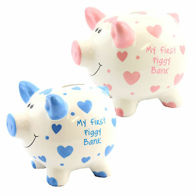 'My First Piggy Bank' Money Box White with Hearts 15cm - Pink or Blue (My First Piggy Bank Pink)