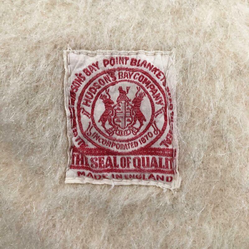 Vintage Antique 1917-1929 Red Label Hudson Bay 4 Point Wool Blanket 72 x 80