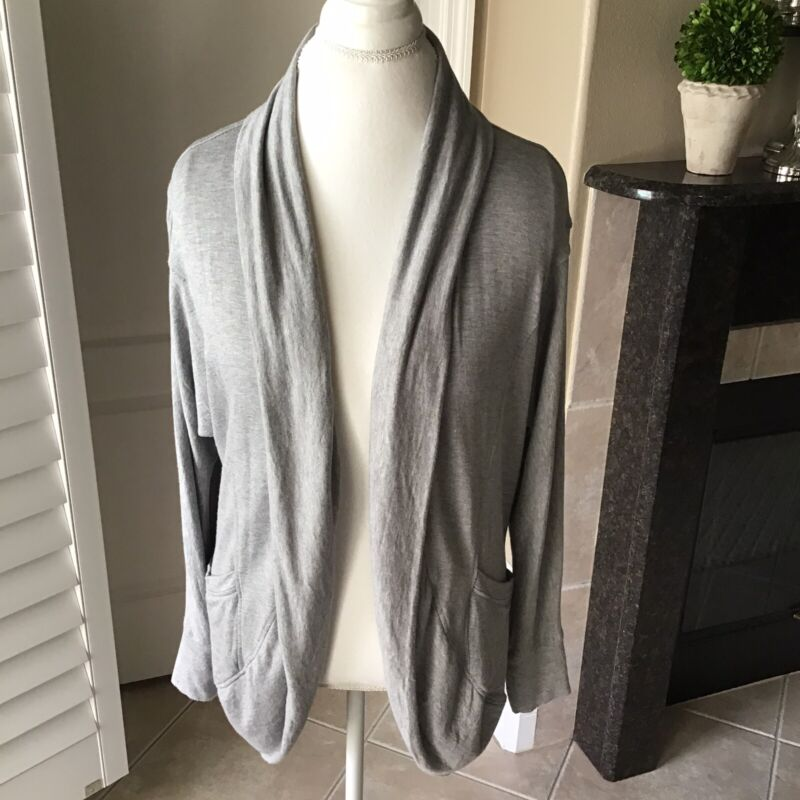A Pea In The Pod Maternity Sweater Large Gray Open Soft Drape Cardigan Casual