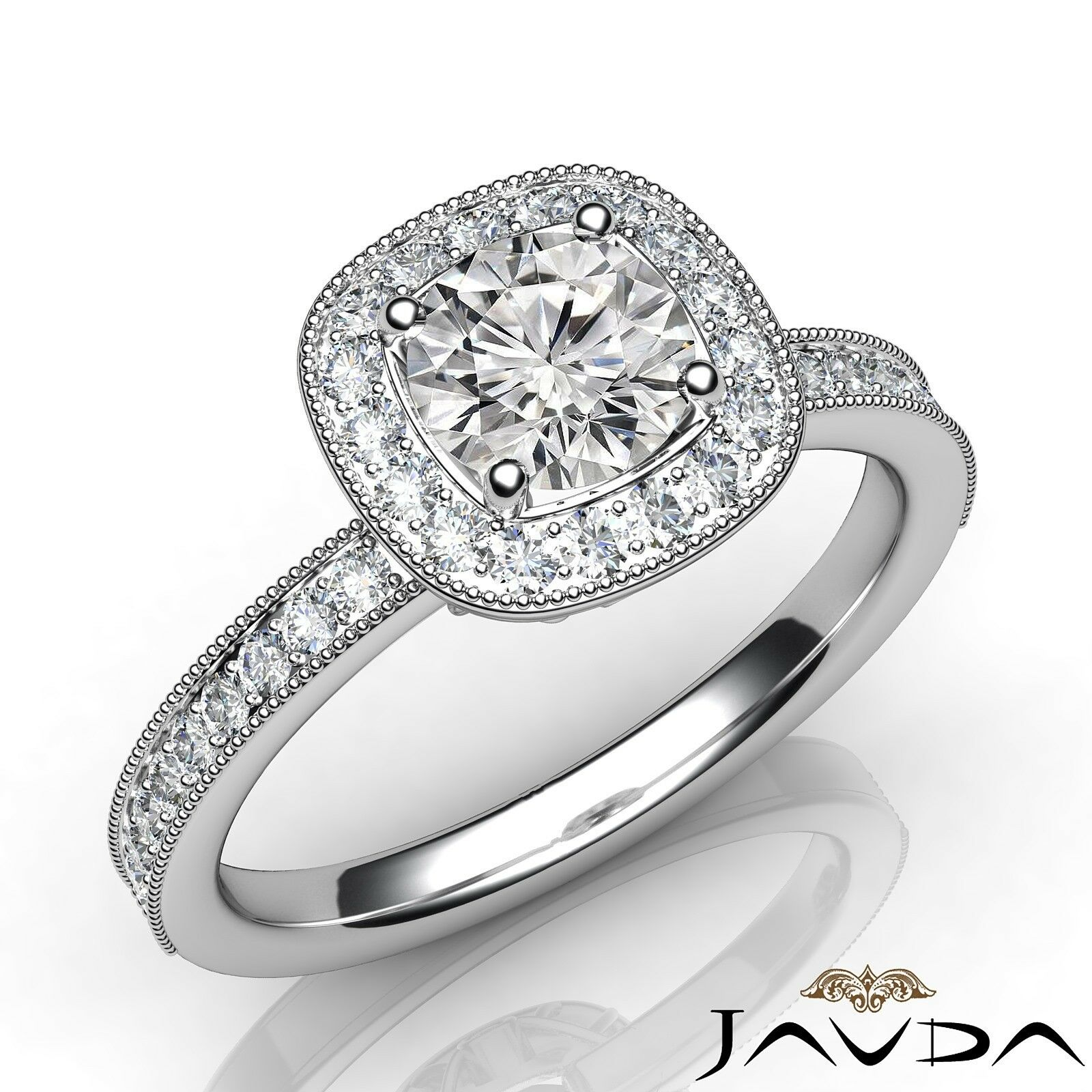 0.9ctw Micro Pave Round Diamond Engagement Ring GIA F-VVS1 White Gold Women New