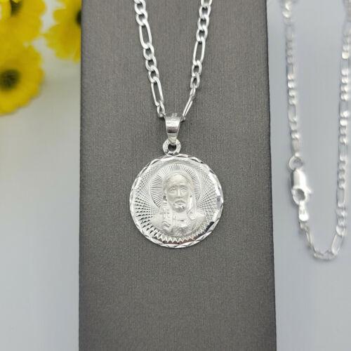 Solid 925 Sterling Silver Sacred Heart of Jesus Pendant Necklace Sagrado Corazon