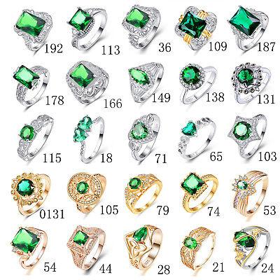 - Emerald Quartz & White Topaz Gemstone Silver 18K Yellow Gold Plated Ring Gifts
