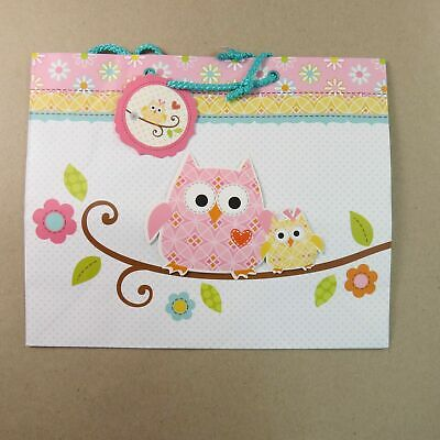 CR Gibson Large Gift Bag, Happi Baby Girl Pink Owls 10 x 12 x 4](Large Baby Gift Bag)