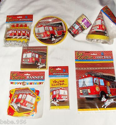 FIREMEN  /FIRE ENGINE  HEROES PAPER  SET FOR /8 GUESTS  MULTI-COLOR   PARTY   - Fire Engine Party