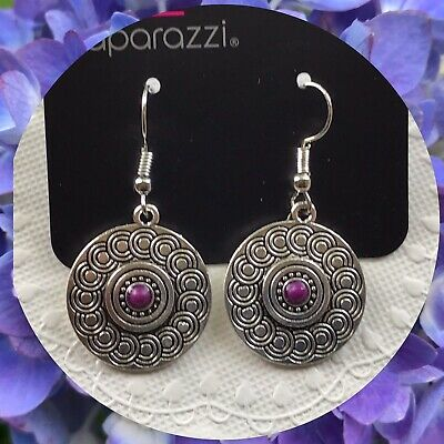 - Paparazzi Sonoran Spiral Purple Earrings Silver ToneSpiral Pattern Bead Center