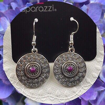 Paparazzi Sonoran Spiral Purple Earrings Silver ToneSpiral Pattern Bead Center