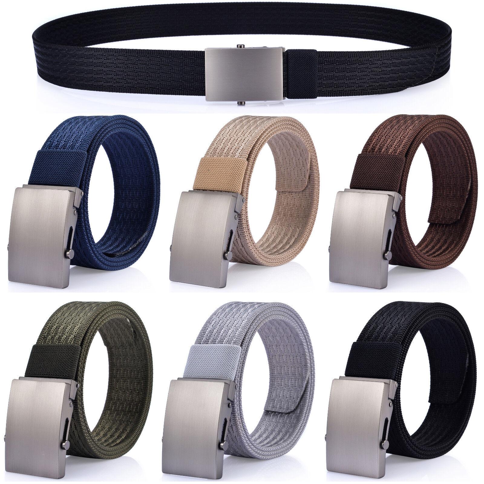 Men's Metal Buckle Webbed Nylon Casual Dress Belt Belts