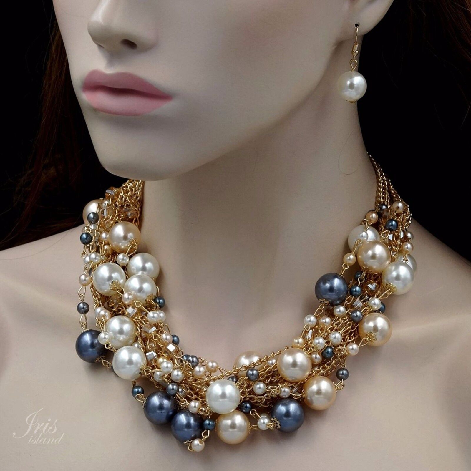 Gold Plated Silver Necklace Set 290 00: Gold Plated GP Pearl Crystal Bead Necklace Earrings