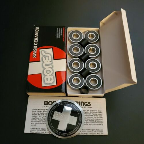 BONES SWISS CERAMIC Skateboard Bearings 8-Pack 8mm 608-RS Precision OPEN BOX