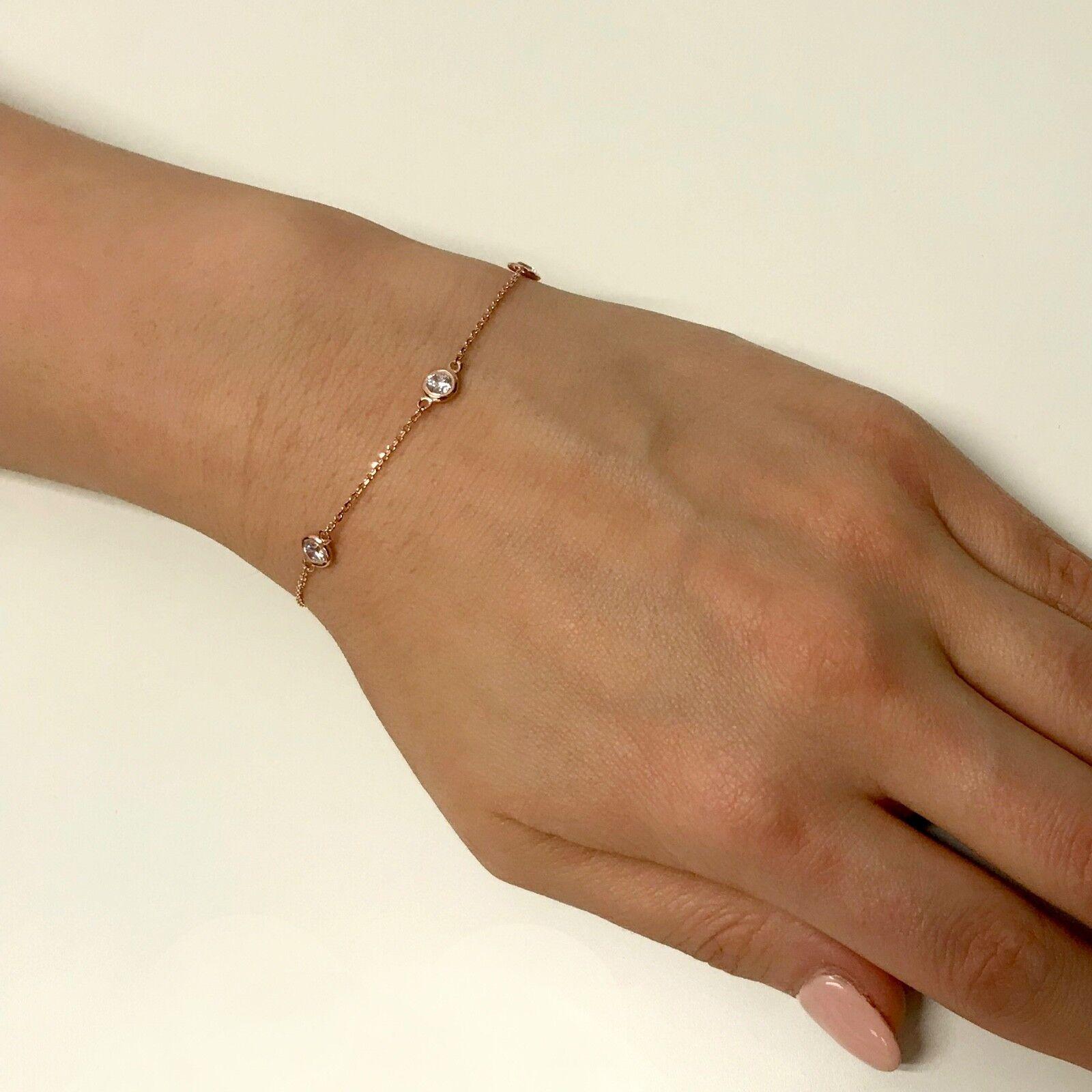 0.80 Ct Diamond By The Yard 4 Stations Bracelet E VVS1 Round Brilliant 14k Gold 4