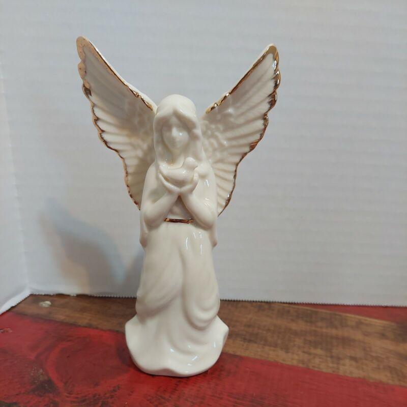 "Mikasa White Porcelain 6 1/2"" Angel With Dove Figurine Christmas Holiday Ivory"