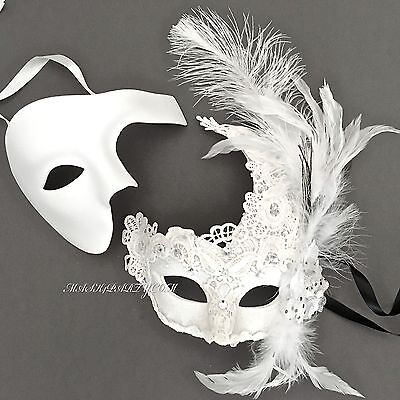 White Brocade Lace Feather & Phantom Set Of Wedding Ball Masquerade Party Mask