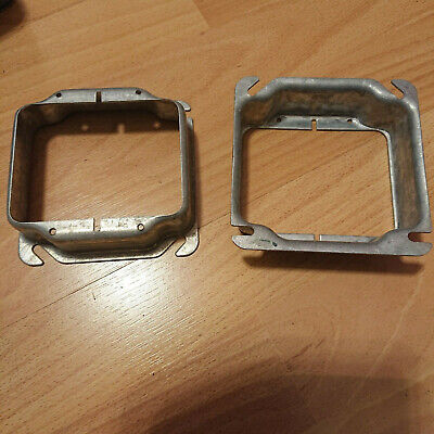 Lot 2 Pcs Of Mud Ring 1-14 Raised Cover 2 Device 4 Square Box 2 Gang