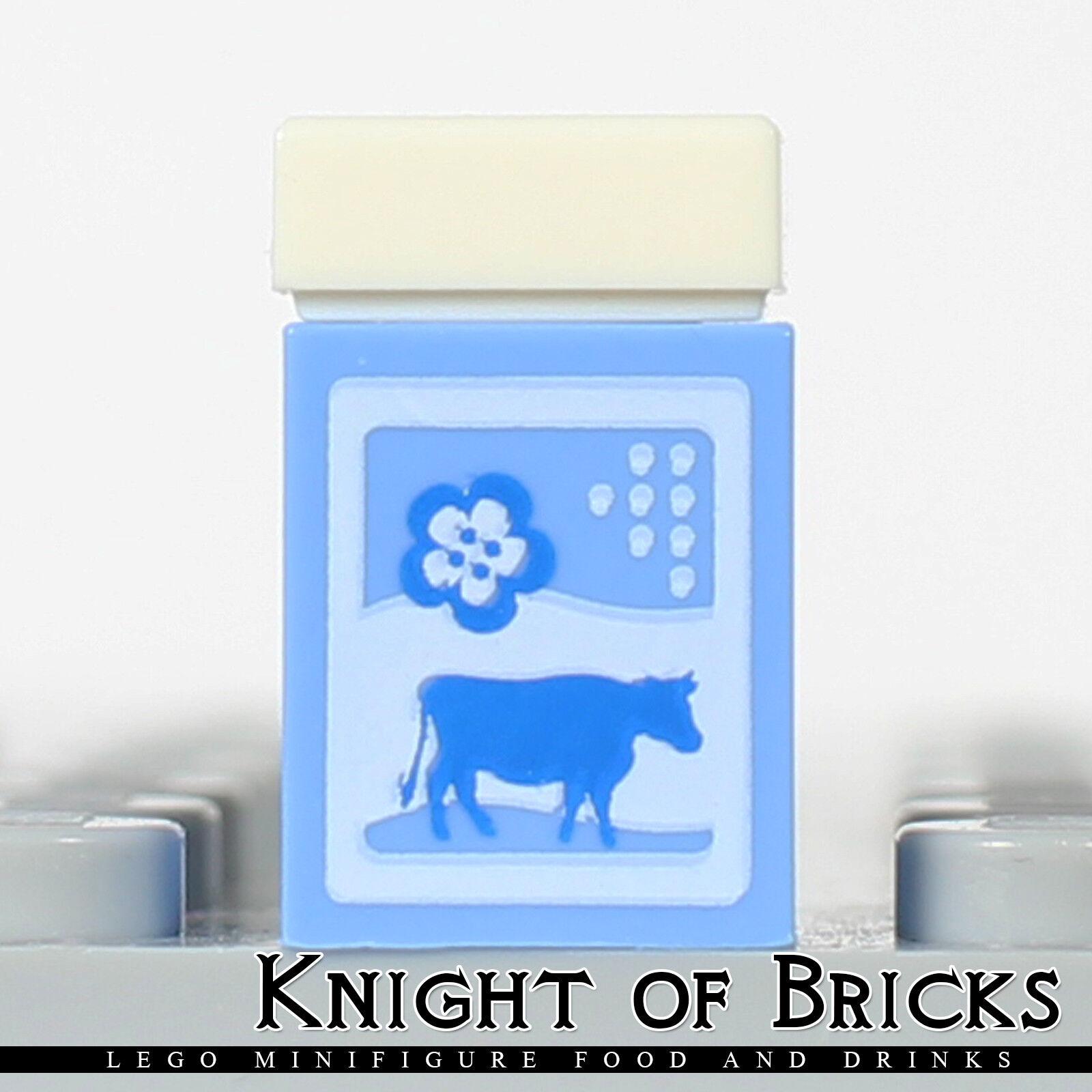 LEGO Minifigure Food BLUE Milk Carton with Cow Friends Kitchen Drink