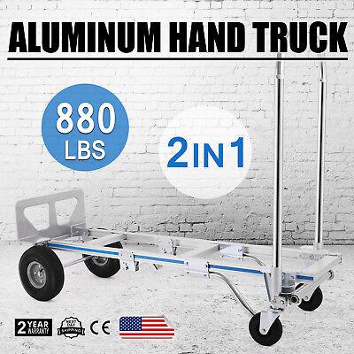 2in1 Aluminum Hand Truck Folding Dolly Platform Cart 880lbs Capacity Heavy Duty