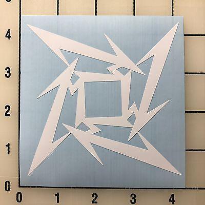 """Metallica Logo 4"""" Wide White Vinyl Decal Sticker - BOGO"""