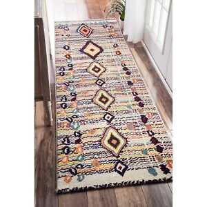 nuLOOM Area Rug Carpet Moroccan Vintage Diamond Design Multi Runner Rug 2'6 x 8'