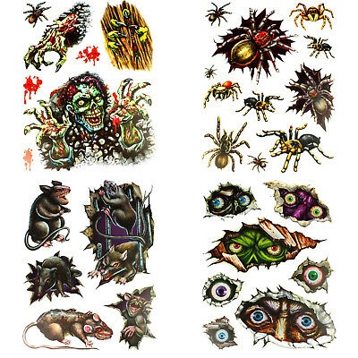 HALLOWEEN WINDOW STICKERS DECORATIONS PARTY EYES RATS SPIDER ZOMBIE SCARY - Halloween Window Eyes